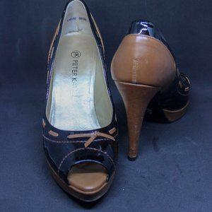 Peter Kaiser Black and Caramel Peep Toe Heels